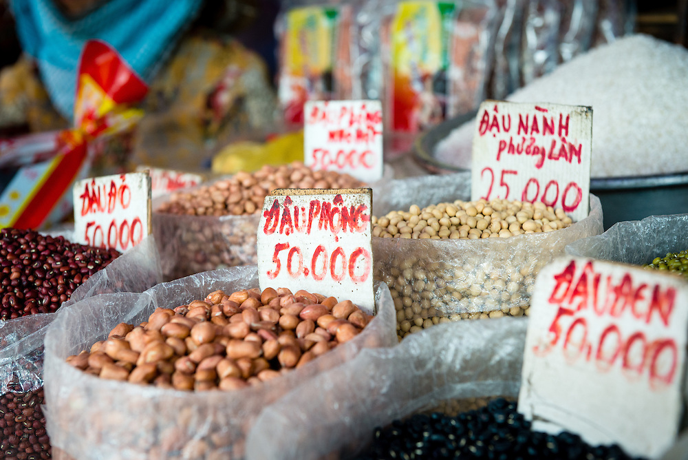Various nuts and beans for sale at street market in Saigon
