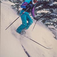 skis new powder at Breckenridge, CO.