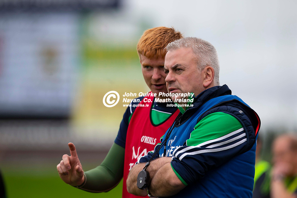 28/09/2019, SFC Quarter Final at Pairc Tailteann, Navan.<br /> Gaeil Colmcille vs Donaghmore/Ashbourne<br /> Donaghmore/Ashbourne manager - Gabriel Bannigan in discussion with selector Padraig Durkan<br /> Photo: David Mullen / www.quirke.ie ©John Quirke Photography, Unit 17, Blackcastle Shopping Cte. Navan. Co. Meath. 046-9079044 / 087-2579454.<br /> ISO: 500; Shutter: 1/1250; Aperture: 4; <br /> File Size: 1.4MB