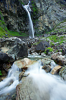 Casset Cascade in the Southern French Alps is complemented by flowing waters and beautiful lines in the rocks. National Parc Ecrins, France