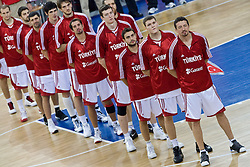 Team of Turkey listening to the national anthem during the EuroBasket 2009 Group F match between Slovenia and Turkey, on September 16, 2009 in Arena Lodz, Hala Sportowa, Lodz, Poland.  (Photo by Vid Ponikvar / Sportida)