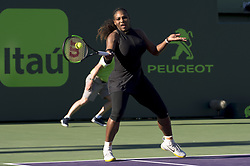 March 21, 2018 - Miami, FL, United States - Miami, FL - March, 21: Serena Williams (USA) in action here, loses 36 26 to Indian Wells Champion, Naomi Osaka (JPN) at the 2017 Miami Open held at the Tennis Center at Crandon Park.   Credit: Andrew Patron/Zuma Wire (Credit Image: © Andrew Patron via ZUMA Wire)