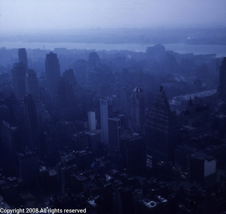 Photo of New York from above taken from a high vantage point. Travel photos of New York, New York taken in April 1967.