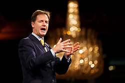 © Licensed to London News Pictures. 10/11/2014. LONDON, UK. Deputy Prime Minister Nick Clegg delivers a speech at the 2014 Confederation of British Industry (CBI) Conference, held at the Grosvenor House in London. Photo credit : Tolga Akmen/LNP