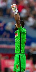 SALZBURG, AUSTRIA - Tuesday, August 25, 2020: FC Red Bull Salzburg's goalkeeper Carlos Miguel Coronel celebrates his side's second goal during a preseason friendly match between FC Red Bull Salzburg and Liverpool FC at the Red Bull Arena. (Pic by Propaganda)