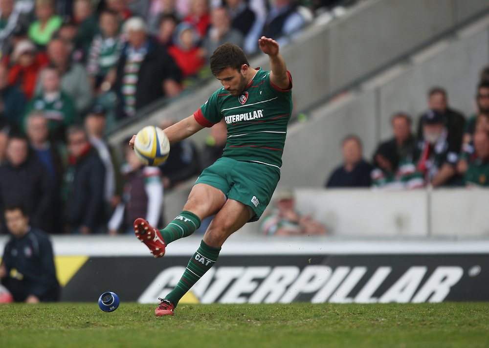 Leicester Tigers' Tommy Bell kicks a conversion<br /> <br /> Photographer Jack Phillips/CameraSport<br /> <br /> Rugby Union - Aviva Premiership - Leicester Tigers v London Welsh - Saturday 25th April 2015 - Welford Road - Leicester<br /> <br /> © CameraSport - 43 Linden Ave. Countesthorpe. Leicester. England. LE8 5PG - Tel: +44 (0) 116 277 4147 - admin@camerasport.com - www.camerasport.com