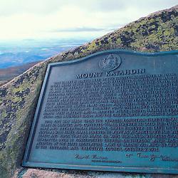 Mt. Katahdin, Baxter SP, ME. Marking the summit of the Appalchian Trail's Northern Terminus.