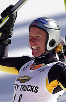 Alpint: 21.11.2001 Copper Mountain, USA, Verdenscup. <br />Die Norwegerin Andrine Flemmen jubelt nach ihrem Sieg am Mittwoch (21.11.2001) beim Ski Alpin Weltcup Riesenslalom der Damen in Copper Mountain, USA.<br /><br />Foto: Digitalsport