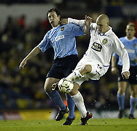 Photo. Aidan Ellis.<br /> Leeds United v Manchester City.<br /> FA Barclaycard Premiership.<br /> 22/03/2004.<br /> Leeds Seth Johnson and City's Robbie Fowler