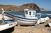 Fishing boats and sea at Las Negras, Cabo de Gata natural park, Almeria, Spain