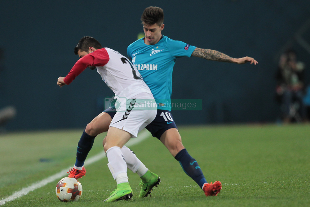 November 23, 2017 - Russia - defender Besir Demiri of FC Vardar and midfielder Emiliano Rigoni of FC Zenit during UEFA Europa League Football match Zenit - Vardar. Saint Petersburg, November 23,201 (Credit Image: © Anatoliy Medved/Pacific Press via ZUMA Wire)