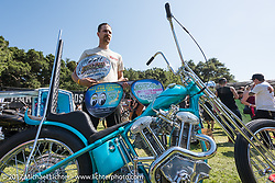 Martin Carlgren of Ringo Chop Shop in Gothenburg, Sweden got the top prize as an invited builder to Born Free that included a round trip ticket for his bike and himself to the Mooneyes Yokohama Hot Rod Custom Show as well as a $6,000 check for his 1947 SRM (Swedish Racing Motor) 1,000 cc chopper with a completely hand-fabricated engine based on an old Husqvarna Motorcycle design that he built as an invited builder to Born Free 9 doing the final assembly in Jeff Leighton and Dave Polgreen's The Wretched Hive Santa Ana, CA shop just before the start of the show. Born Free 9 Motorcycle Show at Oak Creek Ranch. Silverado, CA. USA. Saturday June 24, 2017. Photography ©2017 Michael Lichter.