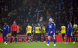 Watford's Gerard Deulofeu celebrates scoring his side's first goal of the game during the Premier League match at Vicarage Road, Watford.