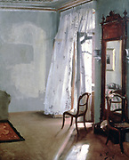 Room with Balcony', 1845. Oil on wood. Adolph Menzel (1815-1905) German artist .Domestic Interior Light Air Freshness Breeze Curtain Chair Mirror
