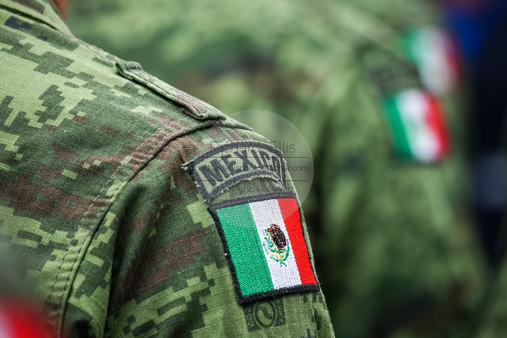 Members of the Mexican Army stand together during a celebration of the 251st birthday of the Mexican Independence hero Ignacio Allende January 21, 2020 in San Miguel de Allende, Guanajuato, Mexico.