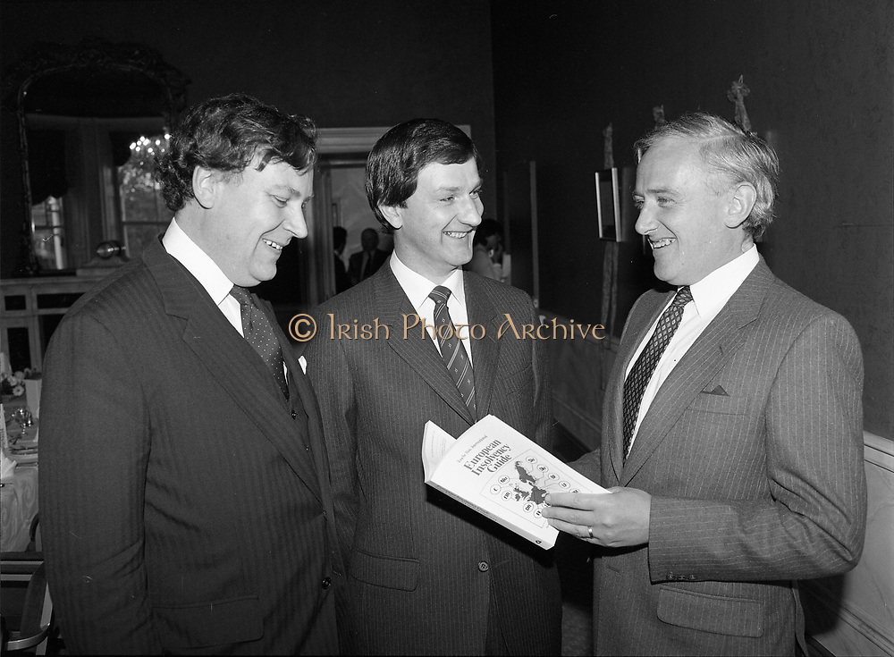 European Insolvency guide launched at the Shelbourne Hotel, 27 St Stephen's Green, Dublin,<br /> 31st May 1984