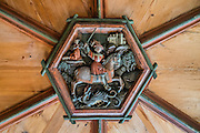 St. George and the dragon are depicted on a wood picture medallion, made between 1508-1516 on the original wood ceiling in the Abbot's Lower Chambers in the David Building. St. George's Abbey (Kloster Sankt Georgen) was founded around 1007 as a Benedictine monastery in Stein am Rhein village, on the banks of the Rhine at the western end of Lake Constance. The fascinating Klostermuseum is one of Switzerland's most important historic buildings from the late Middle Ages and early Renaissance, built in the 1300s to 1500s. The legend of St. George slaying a dragon was a brought back with the Crusaders. According to legend, St. George (who may have lived about AD 280-303) was a Roman soldier of Greek origin and officer in the Guard of Roman emperor Diocletian, who ordered his death for failing to recant his Christian faith. As a Christian martyr, he later became one of the most venerated saints in Christianity.