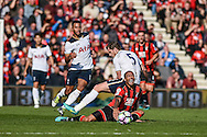 Tottenham Hotspur Defender, Jan Vertonghen (5) fouls AFC Bournemouth Forward, Callum Wilson (13) during the Premier League match between Bournemouth and Tottenham Hotspur at the Vitality Stadium, Bournemouth, England on 22 October 2016. Photo by Adam Rivers.