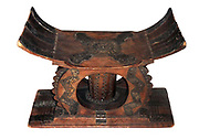 Stool - carved wood ornamented with sheet silver.  Asante people, Ghana, 19th century.