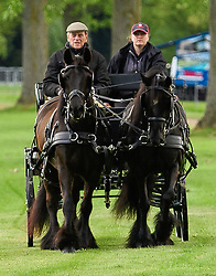 © Licensed to London News Pictures. 12/05/2017. Windsor, UK.  HRH PRINCE PHILIP, The DUKE OF EDINBURGH seen riding a carriage at day three of the Royal Windsor Horse show. The five day equestrian event takes place in the grounds of Windsor Castle. Photo credit: Ben Cawthra/LNP