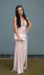 LIVERPOOL, ENGLAND - Friday, April 4, 2014: Lauren Inman of Old Swan Liverpool wearing Forever Unique during Ladies' Day on Day Two of the Aintree Grand National Festival at Aintree Racecourse. (Pic by David Rawcliffe/Propaganda)