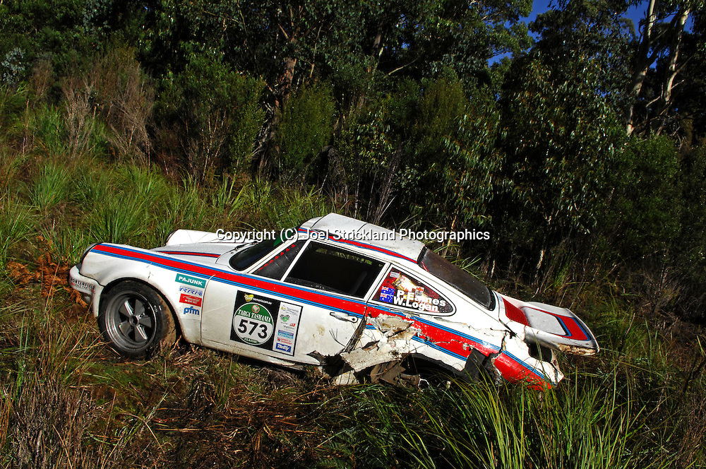 #573 - Peter Eames & Will Logan - 1974 Porsche 911 Carrera RS - Accident.Day 5.Targa Tasmania 2010.2nd of May 2010.(C) Joel Strickland Photographics.Use information: This image is intended for Editorial use only (e.g. news or commentary, print or electronic). Any commercial or promotional use requires additional clearance.
