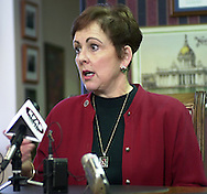 Former Chancellor Nancy Belck answers reporters questions Wednesday about the budget cuts a few years ago..photo by chris machian<br /> <br />  Nancy Belck.  Belck was forced to resign due to financial irregularities.