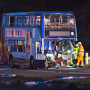 Police attend the Ardrossan bus crash Scotland, UK  21st  March 2016 Ayrshire, Scotland.