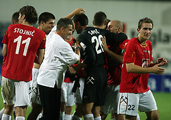 Head coach of Rudar Marjan Pusnik and Goalkeeper of Rudar Boban Savic, R Nikola Tolimir (22) of Rudar celebrate after 3rd Round of PrvaLiga Telekom Slovenije between NK HIT Gorica vs NK Rudar Velenje, on August 1, 2008, in Nova Gorica, Slovenija. Rudar won the match 2:0. (Photo by Vid Ponikvar / Sportal Images)