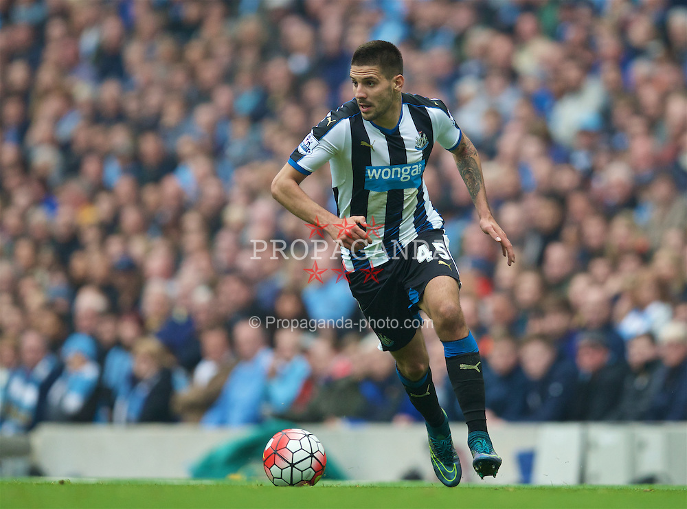 MANCHESTER, ENGLAND - Saturday, October 3, 2015: Newcastle United's Aleksandar Mitrovic in action against Manchester City during the Premier League match at the City of Manchester Stadium. (Pic by David Rawcliffe/Propaganda)