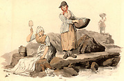 Welsh washer women doing their washing in a stream at the public washing place. From 'Costume of Great Britain' by William Henry Pyne (London, 1808). Aquatint.