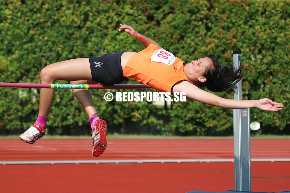 Bishan Stadium, Monday, April 25, 2016 — Jezebel Koh of Singapore Sports School (SSP) clinched the B Division Girls' high jump gold at the 57th National Schools Track and Field Championships, clearing a height of 1.52 metres.<br /> <br /> Yin Yichen of Cedar Girls' Secondary and Jezebel's SSP teammate Cherlin Sia both cleared 1.50m, with Yichen winning the silver on countback. Yichen had come in fifth in the triple jump, while Cherlin was the champion in the girls' open pole vault.