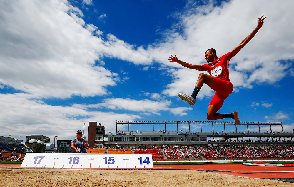 Alphonso Jordan of the USA competes in the men's triple jump during the athletics at the Pan Am Games in Toronto, Friday July 24, 2015.    THE CANADIAN PRESS/Mark Blinch