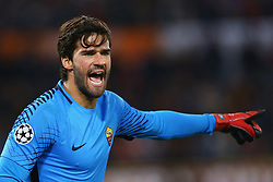 October 31, 2017 - Rome, Italy - Alisson Becker of Roma during the UEFA Champions League group C match between AS Roma and Chelsea FC at Stadio Olimpico on October 31, 2017 in Rome, Italy. (Credit Image: © Matteo Ciambelli/NurPhoto via ZUMA Press)