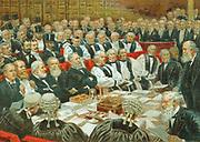 Robert Arthur Talbot Gascoyne Cecil, 3rd Marquis of Salisbury (1830-1903) British Conservative statesman. Prime Minister 1885, 1886, 1895-1902. Salisbury addressing the House of Lords. Chromolithograph c1897.