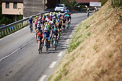 The leaders approach at La Course by Le Tour de France 2018, a 112.5 km road race from Annecy to Le Grand Bornand, France on July 17, 2018. Photo by Sean Robinson/velofocus.com