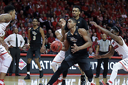 20 March 2017:  B.J. Taylor encounters Phil Fayne(10) during a College NIT (National Invitational Tournament) 2nd round mens basketball game between the UCF (University of Central Florida) Knights and Illinois State Redbirds in  Redbird Arena, Normal IL