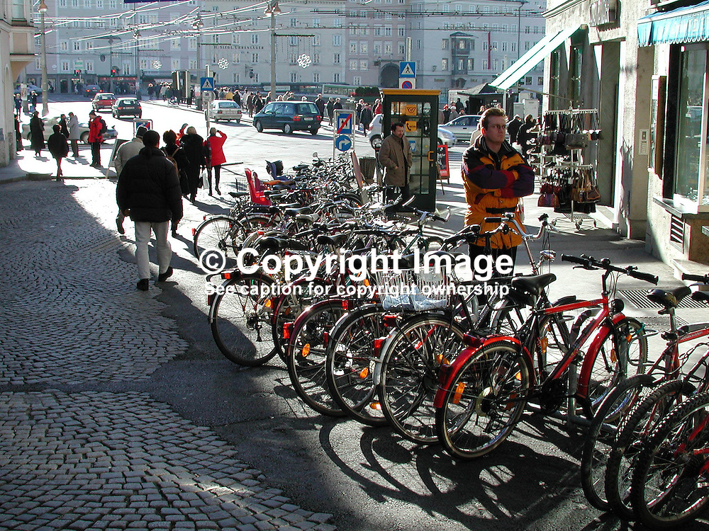 Cyclists will feel at home in Salzburg, Austria, as the bicycle is an important method of transport. Ref: 2000121257.<br /> <br /> Copyright Image from Victor Patterson, Belfast, UK<br /> <br /> t: +44 28 9066 1296 (from Rep of Ireland 048 9066 1296)<br /> m: +44 7802 353836<br /> e: victorpattersonbelfast@gmail.com<br /> <br /> www.images4media.com<br /> <br /> Please see my full Terms and Conditions of Use at https://www.images4media.com/p/terms-conditions - it is IMPORTANT that you familiarise yourself with them.<br /> <br /> Images used online incur an additional cost. This cost should be agreed in writing in advance. Online images must be visibly watermarked i.e. © Victor Patterson or that of the named photographer within the body of the image. The original metadata must not be deleted from images used online.<br /> <br /> This image is only available for the use of the download recipient i.e. television station, newspaper, magazine, book publisher, etc, and must not be passed on to a third party. It is also downloaded on condition that each and every usage is notified within 7 days to victorpattersonbelfast@gmail.com.<br /> <br /> The right of Victor Patterson (or the named photographer) to be identified as the author is asserted in accordance with The Copyright Designs And Patents Act (1988). All moral rights are asserted.