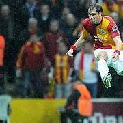 Galatasaray's Johan Elmander during their Turkish superleague soccer derby match Galatasaray between Fenerbahce at the TT Arena in Istanbul Turkey on Friday, 18 March 2011. Photo by TURKPIX