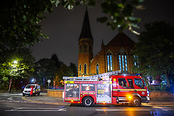 © Licensed to London News Pictures. 11/09/2021. Manchester, UK. Police and firefighters attend at Didsbury Mosque in South Manchester , shortly after midnight tonight ( Saturday 11th September )in what is understood to be the scene of an attempted arson attack . Photo credit: Joel Goodman/LNP