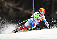 Austria's Marcel Hirscher makes his second run during the mens' slalom at the Sochi 2014 Winter Olympics on February 22, 2014 in Krasnaya Polyana, Russia. Hirscher won a silver medal with a combined time of 1:42.12 for his two runs.  (UPI)