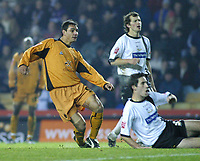 Photo: Dave Linney.<br />Derby County v Wolverhampton Wanderers. Coca Cola Championship. 18/11/2005. Vio Ganea slots home his goal for Wolves