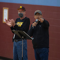 Bob Ippel, executive director, left, and Adrian Pete athletic director at Rehoboth lead the presentation following the Rehoboth Lynx championship parade Friday morning in Rehoboth.