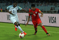 October 8, 2017 - Kolkata, W.B, India - Player of England and Chili in action during the FIFA u17 World Cup India 2017 group F match on 8.10.2017 in Kolkata. (Credit Image: © Sandip Saha/Pacific Press via ZUMA Wire)