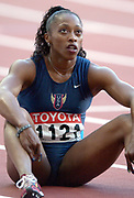Gail Devers of the United States watches video replay of the 100 meters in the IAAF World Championships in Athletics at Stade de France on Sunday, Aug, 24, 2003.