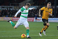 Yeovil's Ryan Bird shoots but narrowly misses. Skybet football league two match, Newport county v Yeovil Town at Rodney Parade in Newport, South Wales on Saturday 21st November 2015.<br /> pic by David Richards, Andrew Orchard sports photography.