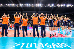 12.06.2018, Porsche Arena, Stuttgart<br /> Volleyball, Volleyball Nations League, Türkei / Tuerkei vs. Niederlande<br /> <br /> Jubel Niederlande nach Sieg<br /> <br /> Foto: Conny Kurth / www.kurth-media.de