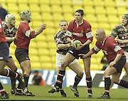 Watford. Great Britain. <br /> Ian JONES holds onto the ball during the <br /> Heineken Cup Semi Final; Gloucester Rugby vs Leicester Tigers. Vicarage Road Stadium, Hertfordshire.England.  <br /> <br /> [Mandatory Credit, Peter Spurrier/ Intersport Images].