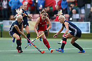 Hannah Cozens of Wales © goes past Darya Belavusava (l) and Ryta Batura of Belarus (r). Belarus v Wales, EuroHockey 11 Women's championshp 2017 in Cardiff, South Wales , Wednesday 9th August 2017<br /> pic by Andrew Orchard