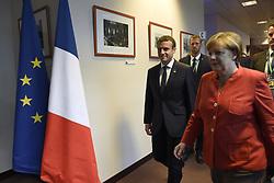 June 23, 2017 - Bruxelles, Belgique - Emmanuel Macron (President France) - Angela Merkel  (Credit Image: © Panoramic via ZUMA Press)